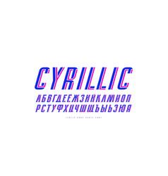 cyrillic italic sans serif font vector image