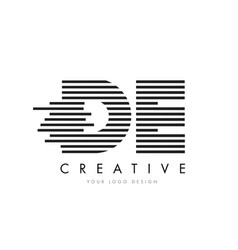 de d e zebra letter logo design with black and vector image