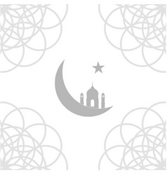 Eid card with mosque and crescent moon vector
