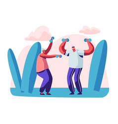 Elderly people open air workout with dumbbells vector
