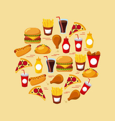 fast food set of icons menu unhealthy restaurant vector image