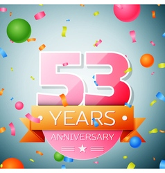Fifty three years anniversary celebration vector image