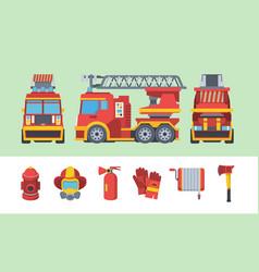 fireman set special fire fighting vehicle fleet vector image