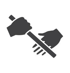 Flat black estafet run icon vector