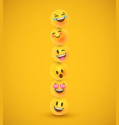 fun yellow 3d emoticon face icons in funny tower vector image