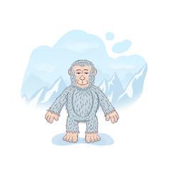 Funny cartoon calm yeti standing against a snowy vector