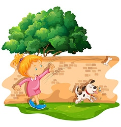 Girl throwing bone for dog vector image