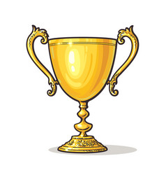 gold trophy cup vector image