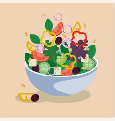 Greek salad in a bowl vector