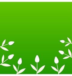Green summer background with tulips vector