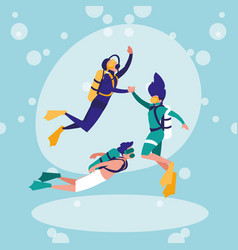 group of person practicing diving avatar character vector image
