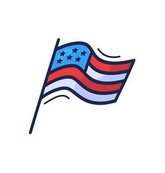 hand drawn doodle style usa flag with stars vector image