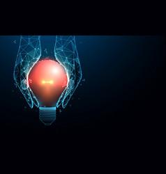 hand holding a light bulb shape idea innovation vector image