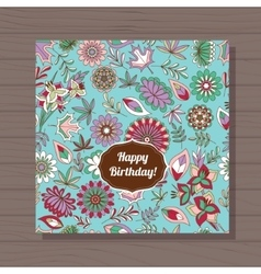 Happy birthday card autumn flowers on wooden vector