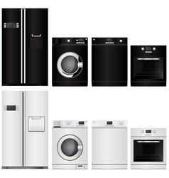 Home appliances set of household kitchen technics vector