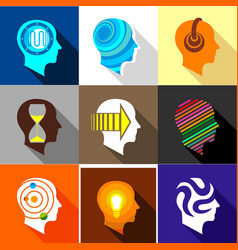 human head logo icons set flat style vector image