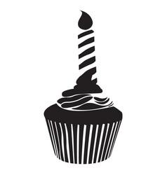 Isolated cupcake silhouette vector
