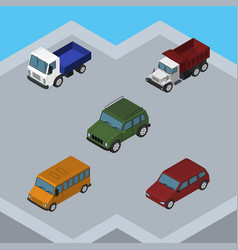 Isometric car set of lorry armored freight and vector