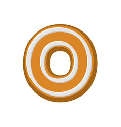 Letter o gingerbread peppermint honey-cake font vector