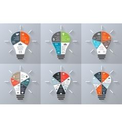 light bulb infographics set 3 4 5 6 7 vector image