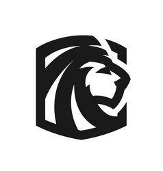 lion head monochrome logo emblem vector image