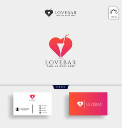 Love wine bar minimal logo template vector