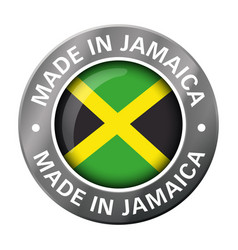 made in jamaica flag metal icon vector image