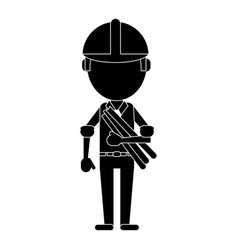 Man building construction plans helmet pictogram vector