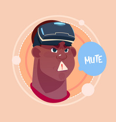 Man mute african american male emoji wearing 3d vector