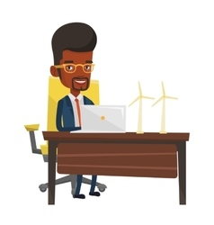 Man working with model wind turbines on the table vector