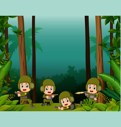 many soldiers in a jungle vector image