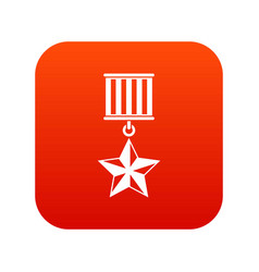 medal star icon digital red vector image