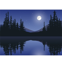 Moon Over Calm Lake vector image vector image
