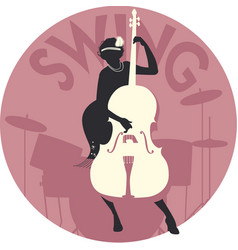 musical style swing silhouette of flapper girl vector image