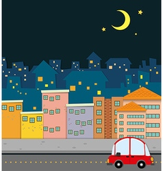 Neighborhood scene at night vector image