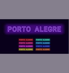 Neon name of porto alegre city vector