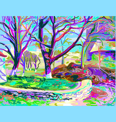 Painting of natural village landscape vector