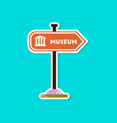paper sticker on stylish background museum sign vector image