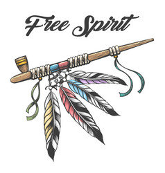 Peace pipe tattoo vector