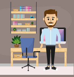 people and home office vector image