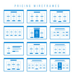 Pricing tables wireframe components prototype vector
