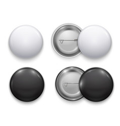 realistic black and white blank round badge set vector image