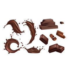 realistic chocolate splashes flows and bars vector image