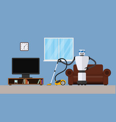 robot cleaner in home interior vector image