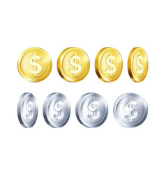 Rotation metallic gold and silver coin template vector