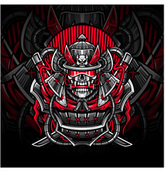samurai skull esport mascot logo vector image
