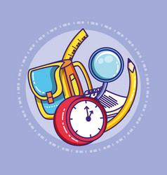 Schoolbag with clock and supplies education vector