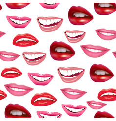 seamless background of laughing female lips vector image