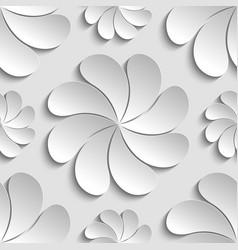 seamless pattern white 3d paper flower circle 3d vector image