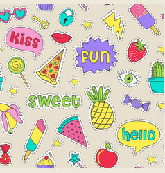 Seamless pattern with cheerful stickers vector